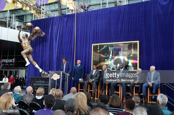 Elgin Baylor speaks to the crowd during the Elgin Baylor statue unveiling at STAPLES Center on April 6 2017 in Los Angeles California NOTE TO USER...