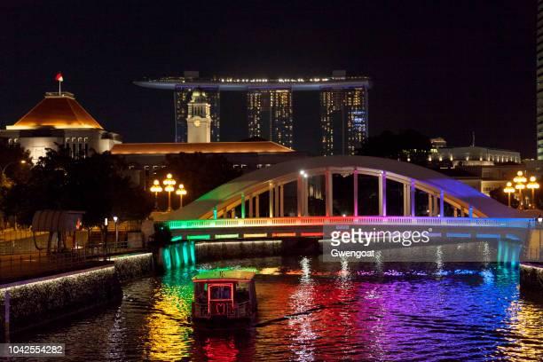 Elgin Bridge illuminated at night in Singapore
