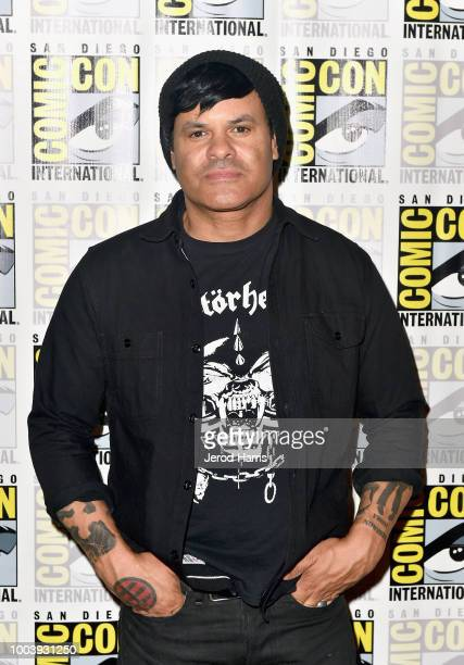 Elgin James attends FX's Mayans MC press line during ComicCon International 2018 at Hilton Bayfront on July 22 2018 in San Diego California