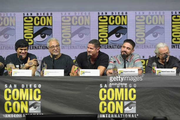 Elgin James Norberto Barba JD Pardo Clayton Cardenas and Edward James Olmos speak onstage at the Mayans MC discussion and QA during ComicCon...