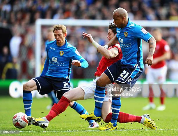 ElHadji Diouf of Leeds battles with Greg Halford of Nottingham Forest during the npower Championship match between Nottingham Forest and Leeds United...