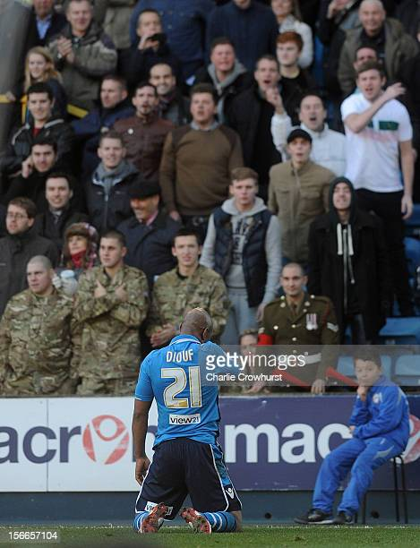 ElHadji Diouf of Leeds get abuse from Millwall fans during the npower Championship match between Millwall and Leeds United at The New Den on November...