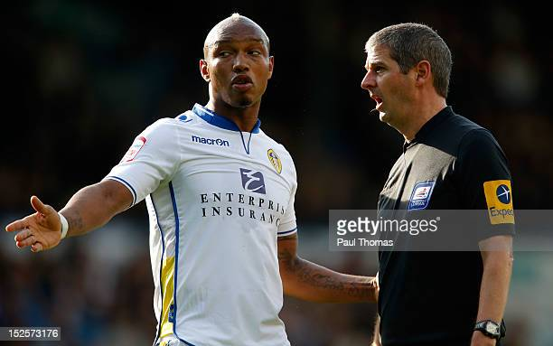 ElHadji Diouf of Leeds speaks with referee Andrew D'Usro during the npower Championship match between Leeds United and Nottingham Forest at Elland...