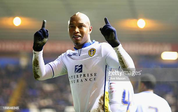 ElHadji Diouf of Leeds United celebrates scoring a penalty during the FA Cup with Budweiser Third Round Replay match between Birmingham City and...