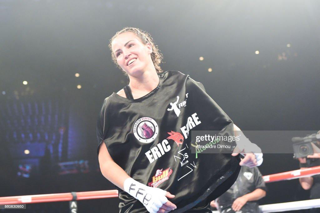 Elhem Mekaled celebrates her victory during the Boxitanie Event on October 12, 2017 in Montpellier, France.