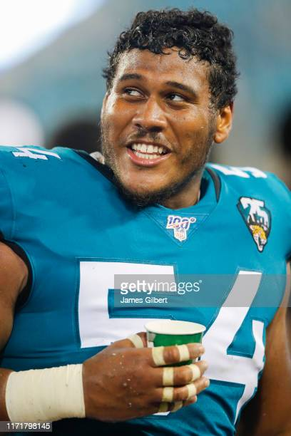 Eli Ankou of the Jacksonville Jaguars looks on during the second half of a preseason game at TIAA Bank Field on August 29 2019 in Jacksonville Florida