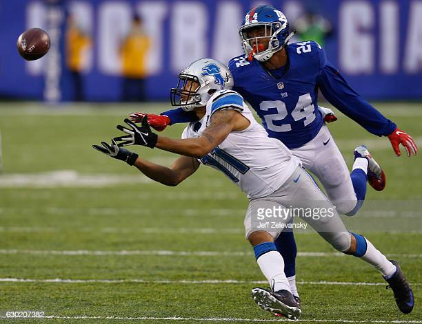 Eli Apple of the New York Giants covers Marvin Jones of the Detroit Lions for a completed pass in the third quarter at MetLife Stadium on December 18...