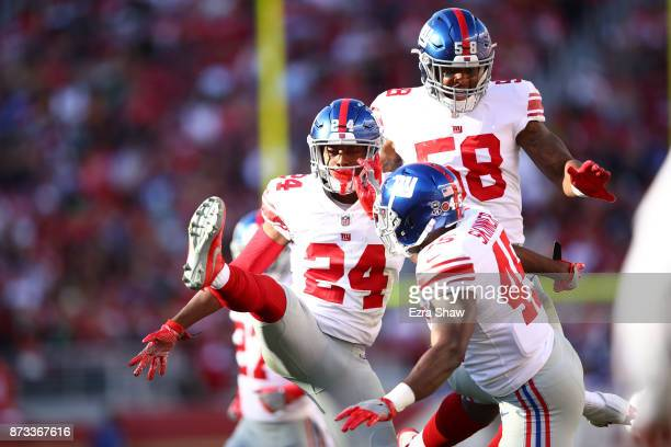 Eli Apple of the New York Giants reacts to a play against the San Francisco 49ers during their NFL game at Levi's Stadium on November 12 2017 in...