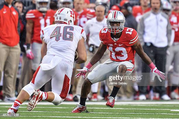 Eli Apple of the Ohio State Buckeyes chases down a ballcarrier against the Rutgers Scarlet Knights at Ohio Stadium on October 18 2014 in Columbus Ohio