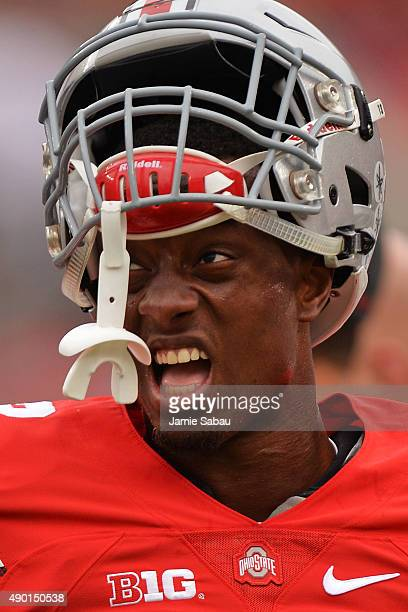 Eli Apple of the Ohio State Buckeyes warms up before a game against the Western Michigan Broncos at Ohio Stadium on September 26 2015 in Columbus Ohio
