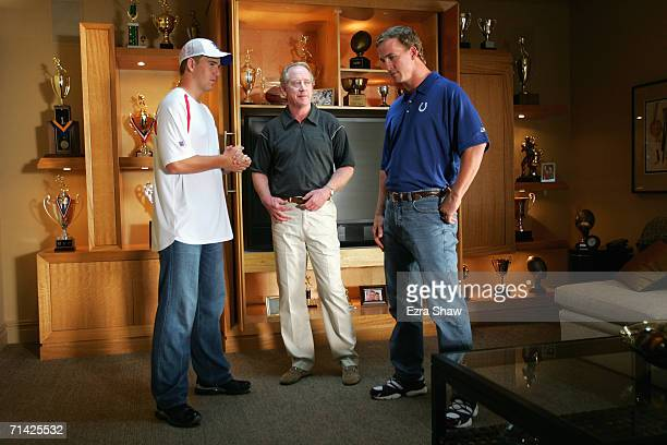 Eli Archie and Peyton Manning on the set during a Reebok commercial shoot on June 26 2006 in North Caldwell New Jersey