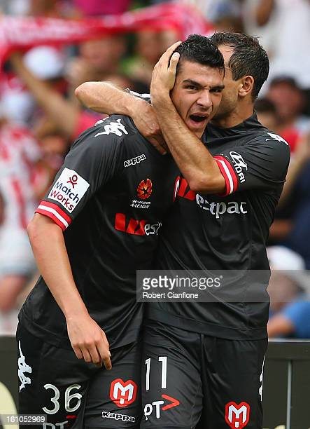 Eli Babalj of the Heart celebrates his goal with Richard Garcia during the round 20 A-League match between the Melbourne Heart and the Perth Glory at...