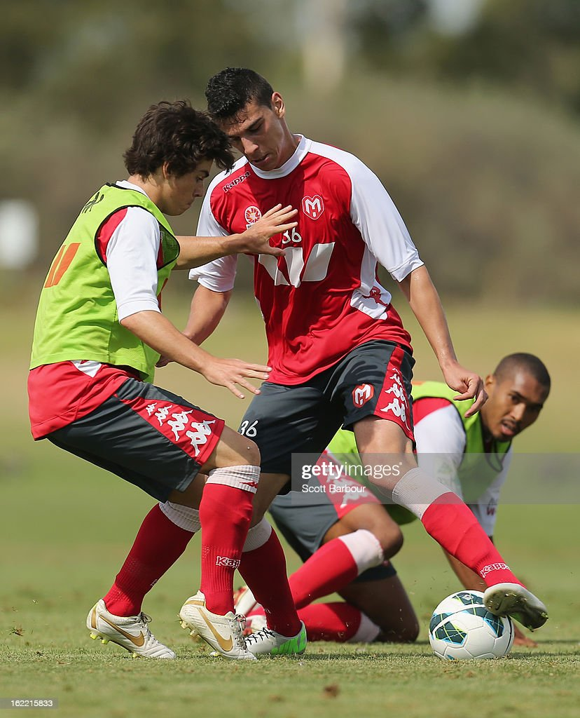 Eli Babalj of the Heart competes for the ball during a Melbourne Heart A-League training session at La Trobe University Sports Fields on February 21, 2013 in Melbourne, Australia.