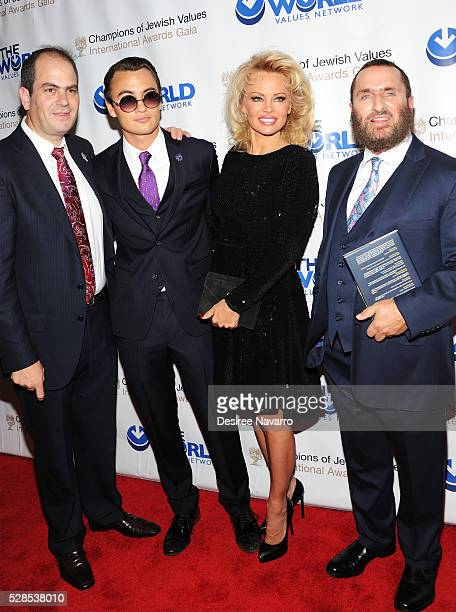 Eli Beer, Brandon Thomas Lee, Pamela Anderson and Rabbi Shmuley Boteach attend the 4th Annual Champions Of Jewish Values International Awards Gala at...