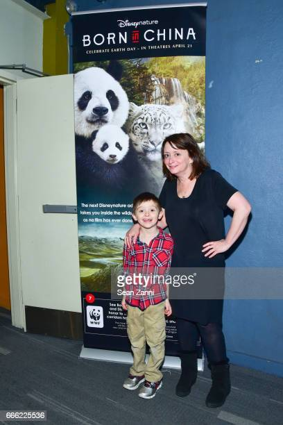 Eli Benjamin Wahl and Rachel Dratch attend Disneynature and The Cinema Society Host the Premiere of Born in China at the Landmark Sunshine Theater on...
