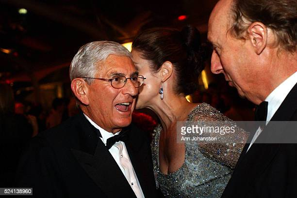 Eli Broad greets Tawny Little and Marcus Benny at the Inaugural Gala at the Walt Disney Concert Hall designed by architect Frank Gehry The building...