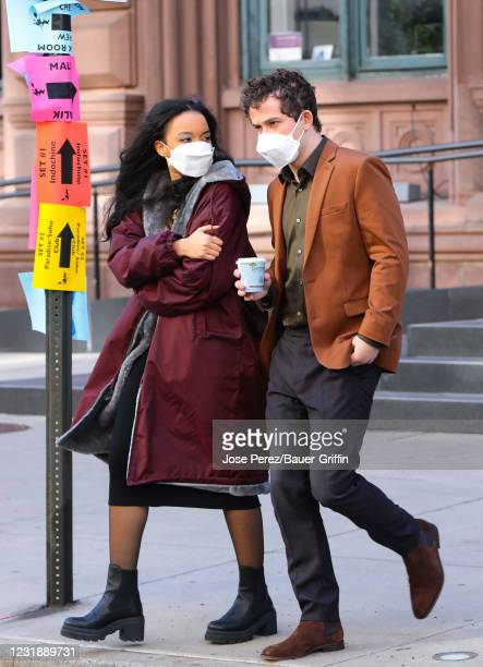 Eli Brown and Whitney Peak are seen at the film set of the 'Gossip Girl' TV Series on March 23, 2021 in New York City.