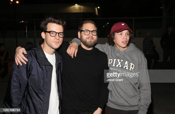 Eli Bush Jonah Hill and Gio Galicia attend the premiere of A24's Mid90s after party on October 18 2018 in Los Angeles California