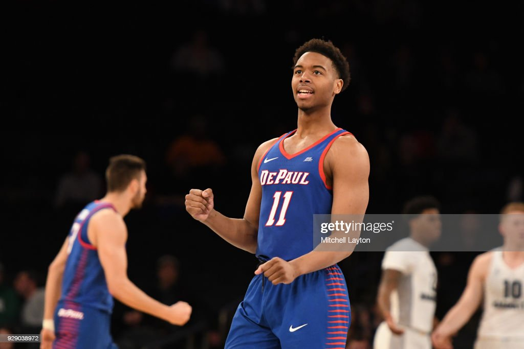 Eli Cain #11 of the DePaul Blue Demons celebrates a basket during the first round of the Big East Men's Basketball Tournament against the Marquette Golden Eagles at Madison Square Garden on March 7, 2018 in New York City. Photo by Mitchell Layton/Getty Images)