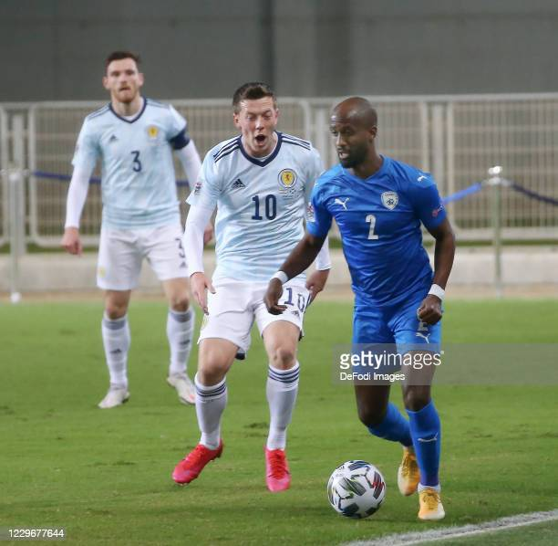 Eli Dasa of Israel controls the ball during the UEFA Nations League group stage match between Israel and Scotland at Netanya Stadium on November 18,...