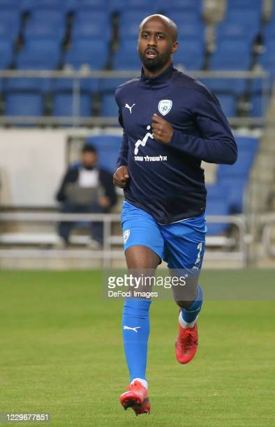 Eli Dasa of Israel warms up during the UEFA Nations League group stage match between Israel and Scotland at Netanya Stadium on November 18, 2020 in...
