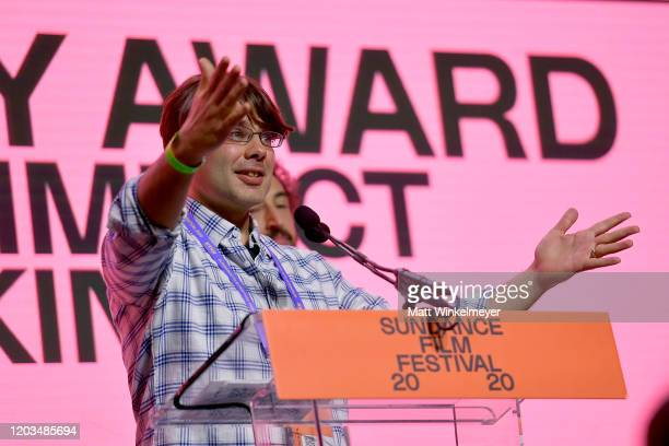 Eli Despres speaks onstage during the 2020 Sundance Film Festival Awards Night Ceremony at Basin Recreation Field House on February 01 2020 in Park...