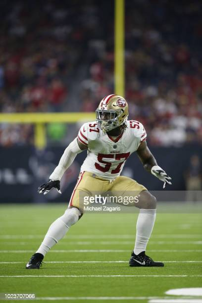 Eli Harold of the San Francisco 49ers defends during the game against the Houston Texans at NRG Stadium on August 18 2018 in Houston Texas The Texans...