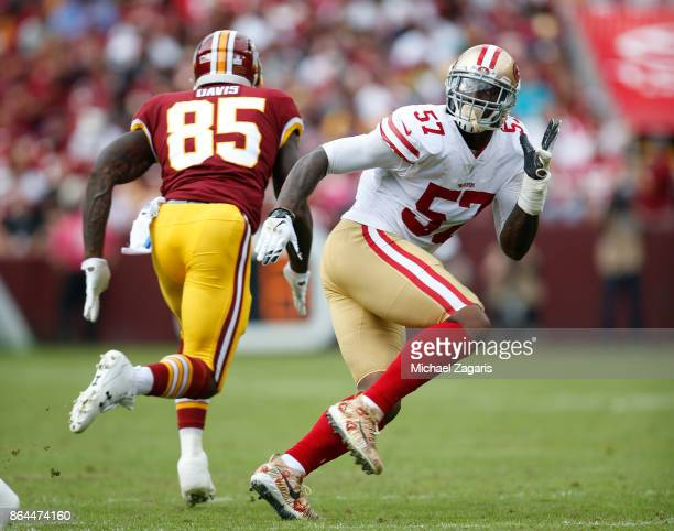 Eli Harold of the San Francisco 49ers defends during the game against the Washington Redskins at FedEx Field on October 15 2017 in Landover Maryland...