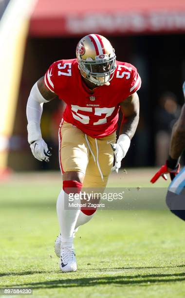 Eli Harold of the San Francisco 49ers defends during the game against the Tennessee Titans at Levi's Stadium on December 17 2017 in Santa Clara...