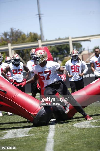 Eli Harold of the San Francisco 49ers goes through a defensive bag drill during the team Mini Camp at the SAP Training Facility on June 12 2018 in...