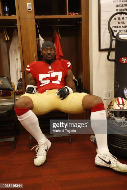 Eli Harold of the San Francisco 49ers sits in the locker room prior to the game against the Dallas Cowboys at Levi Stadium on August 9 2018 in Santa...