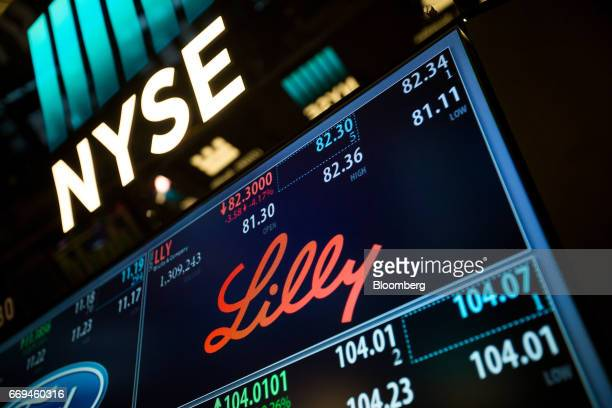 Eli Lilly And Co signage is displayed on a monitor on the floor of the New York Stock Exchange in New York US on Monday April 17 2017 US stocks...