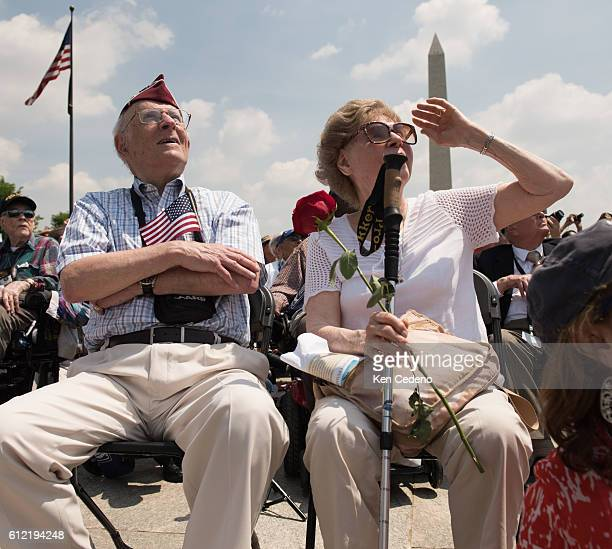 Eli Linden left and his wife right watch the array of World War II aircraft fly over the National Mall celebrating the 70th anniversary of Victory in...