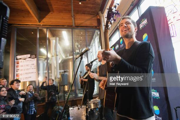 Eli Maiman Nicholas Petricca and Kevin Ray of Walk The Moon perform during an EndSession hosted by 1077 The End at Elysian Capitol Hill on February...