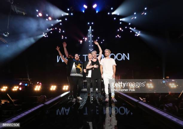 Eli Maiman Sean Waugaman Nicholas Petricca and Kevin Ray of Walk the Moon perform onstage during KROQ Almost Acoustic Christmas 2017 at The Forum on...