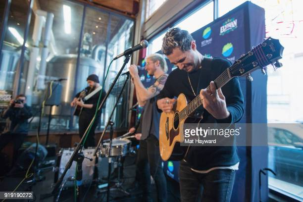 Eli Maiman Sean Waugaman Nicholas Petricca and Kevin Ray of Walk The Moon perform during an EndSession hosted by 1077 The End at Elysian Capitol Hill...