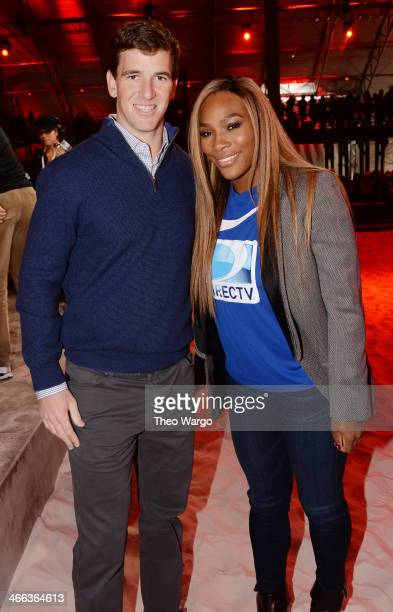 Eli Manning and Serena Williams attend the DirecTV Beach Bowl at Pier 40 on February 1 2014 in New York City