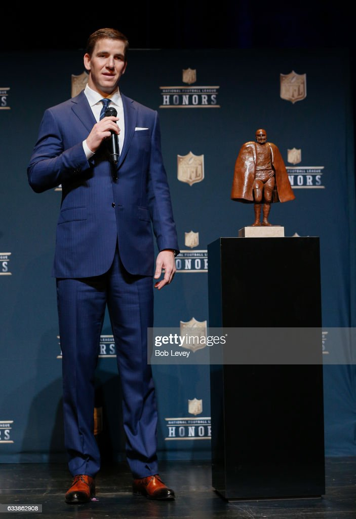 Eli Manning answers questions after winning the Walter Payton NFL Man of the Year presente by Nationwide at Wortham Theater Center on February 4, 2017 in Houston, Texas.