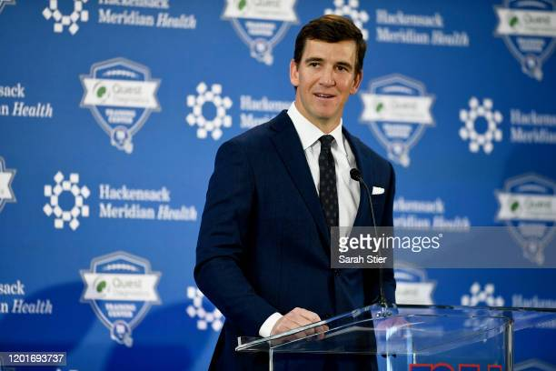 Eli Manning of the New York Giants announces his retirement during a press conference on January 24, 2020 at Quest Diagnostics Training Center in...