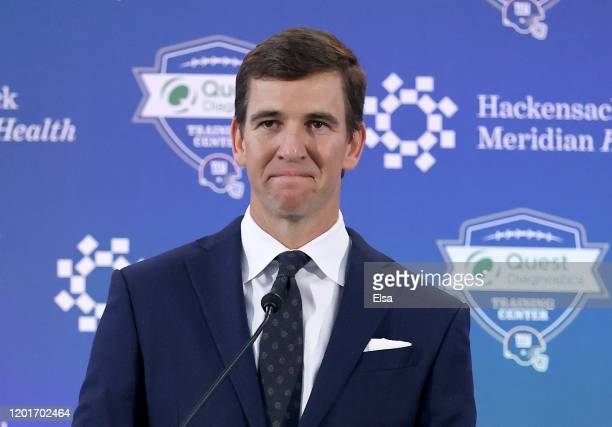 Eli Manning of the New York Giants announces his retirement during a press conference on January 24, 2020 at Quest Diagnostic Training Center in East...
