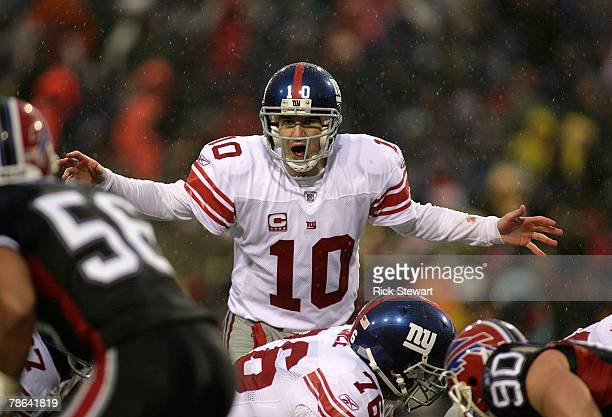 Eli Manning of the New York Giants calls signals against the Buffalo Bills on December 23, 2007 at Ralph Wilson Stadium in Orchard Park, New York....