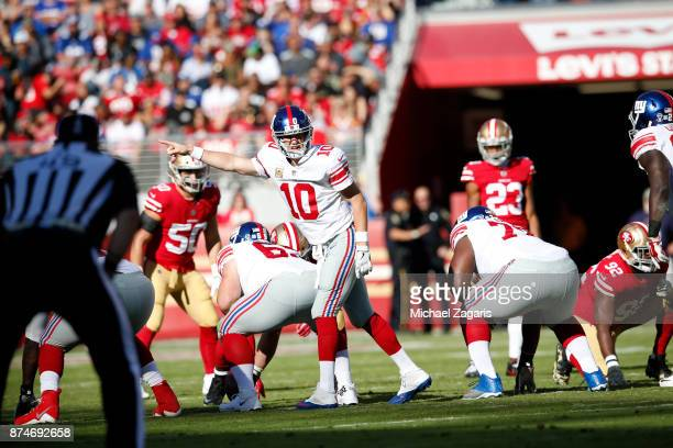 Eli Manning of the New York Giants changes the play at the line during the game against the San Francisco 49ers at Levi's Stadium on November 12 2017...