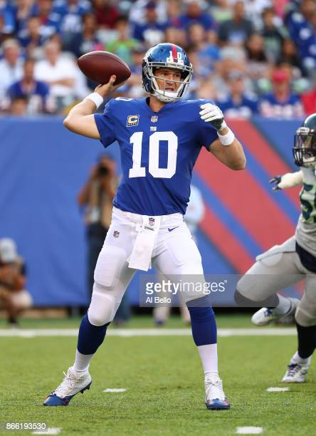 Eli Manning of the New York Giants in action against the Seattle Seahawks during their game at MetLife Stadium on October 22 2017 in East Rutherford...