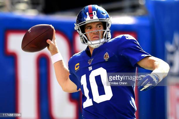 Eli Manning of the New York Giants makes a pass during their game against the Buffalo Bills at MetLife Stadium on September 15, 2019 in East...