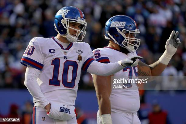 Eli Manning of the New York Giants reacts against the Dallas Cowboys in the first half during the game at MetLife Stadium on December 10 2017 in East...