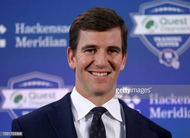 Eli Manning of the New York Giants smiles after a press conference announcing his retirement on January 24, 2020 at Quest Diagnostic Training Center...
