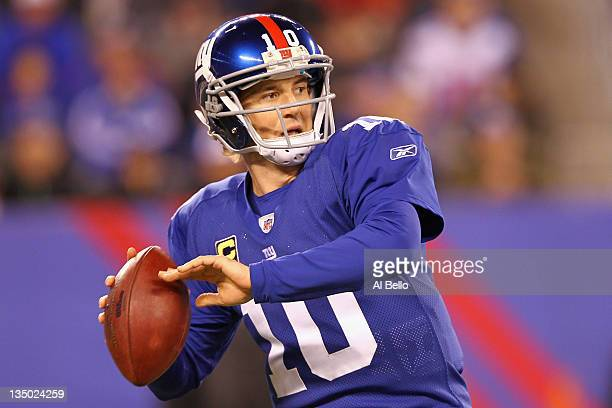 Eli Manning of the New York Giants throws a pass against the Green Bay Packers at MetLife Stadium on December 4 2011 in East Rutherford New Jersey