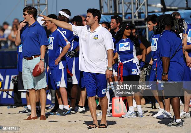 Eli Manning of the NY Giants and Mark Sanchez of the NY Jets coach the Fourth Annual DIRECTV Celebrity Beach Bowl at DIRECTV Celebrity Beach Bowl...