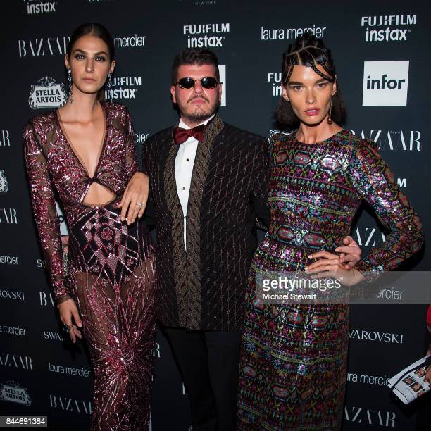 Eli Mizrahi and Crystal Renn attend 2017 Harper's Bazaar Icons at The Plaza Hotel on September 8 2017 in New York City