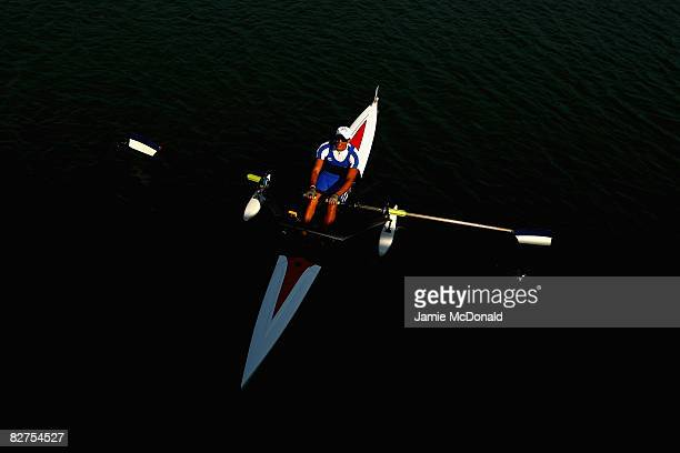 Eli Nawi of Israel goes to the start of the Men's Singel sculls -A- Rowing event at Shunyi Olympic Rowing-Canoeing Park during day four of the...